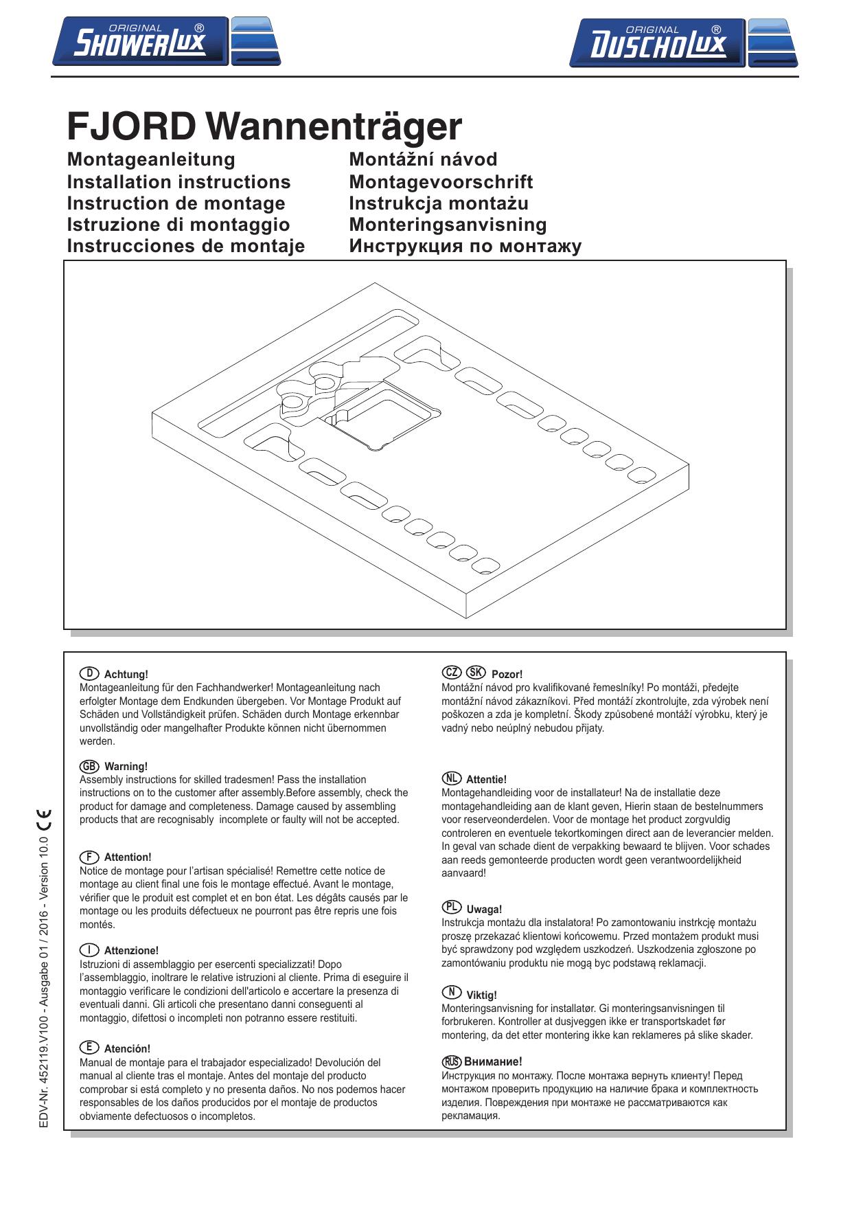 Fjord Wannenträger | Manualzz concernant Notice Montage