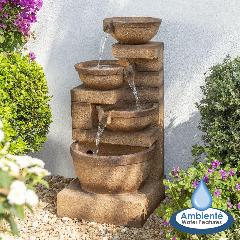 Fontaine Cascade Kendal 3 Niveaux Avec Éclairage Led avec Jardin Zen Avec Fontaine