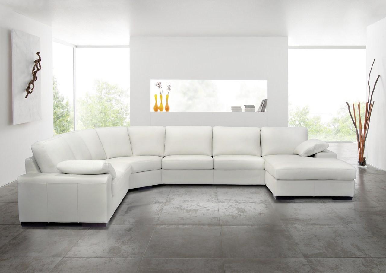 Grand Canapé D'angle En Cuir Hoover Panoramique destiné Salon Cuir 7 Places