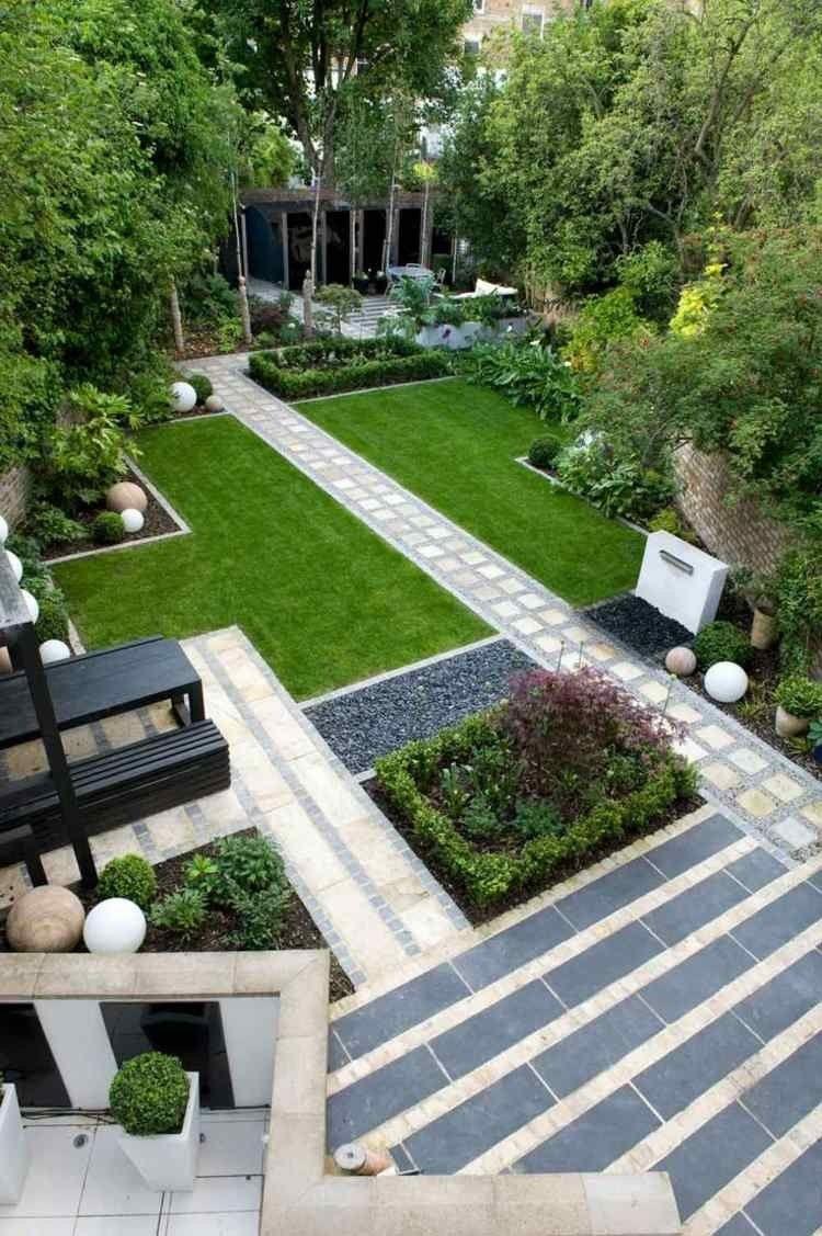 Jardin Moderne Avec Galet Parterre Gravier Simple Modele De ... encequiconcerne Parterre Jardin Moderne