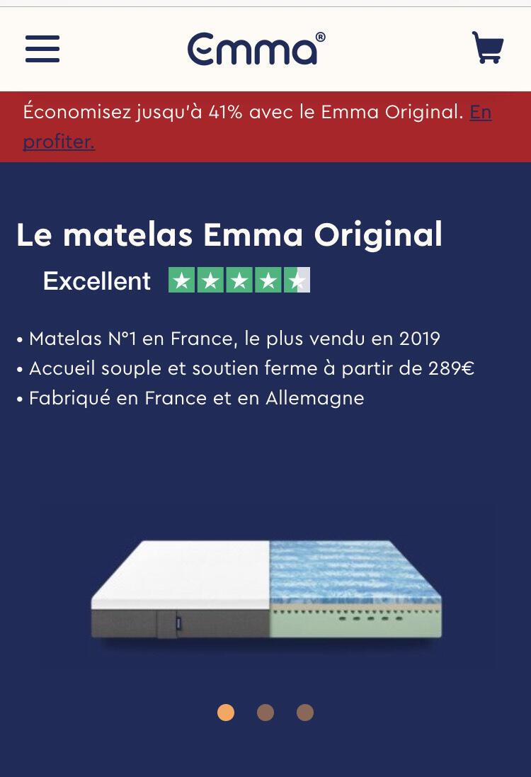 Jusqu'à 40% De Remise Sur Les Matelas Emma Original ... avec Code Promo Emma Matelas