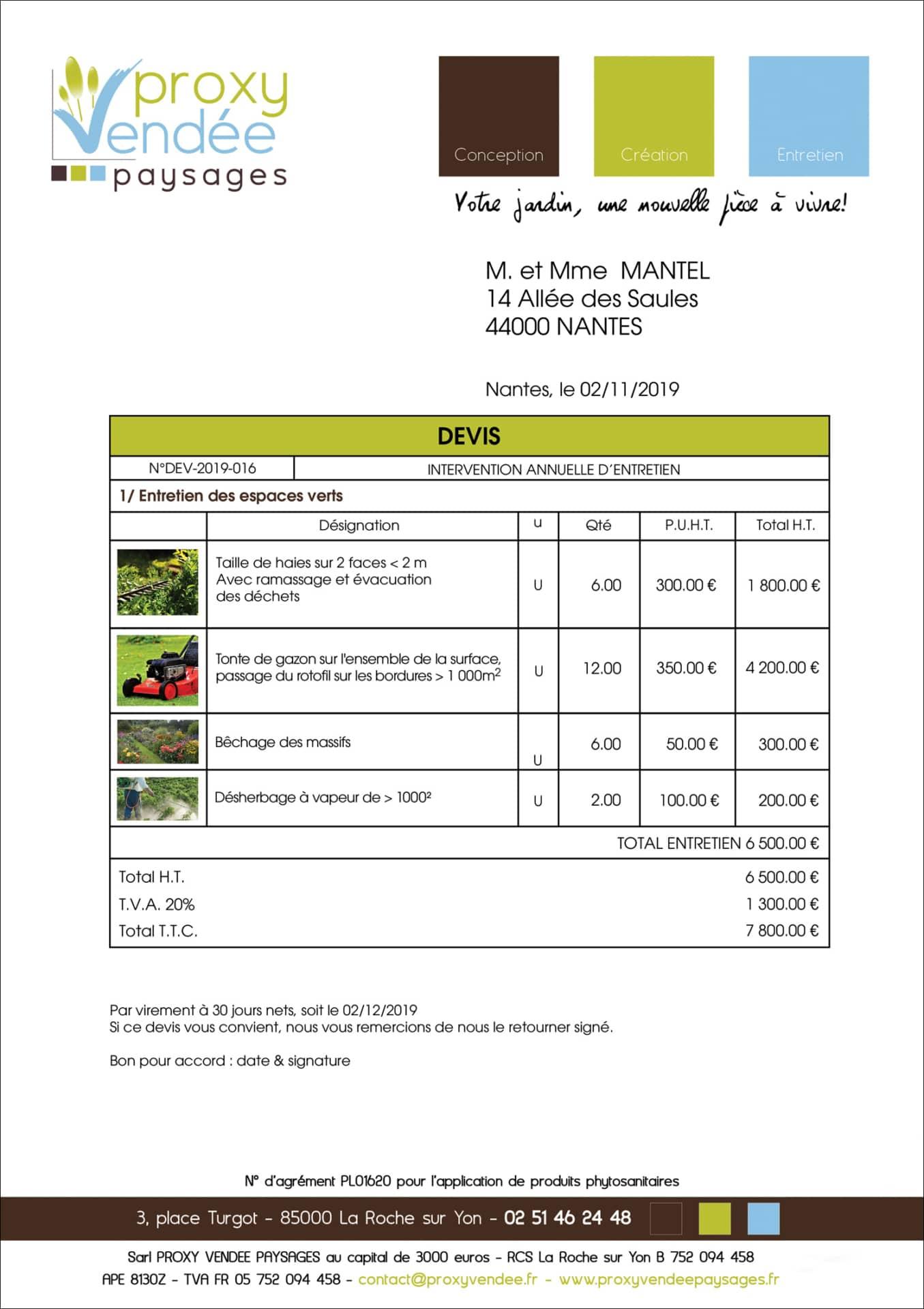 Exemple Devis Entretien Jardin Annuel - Idees Conception ...