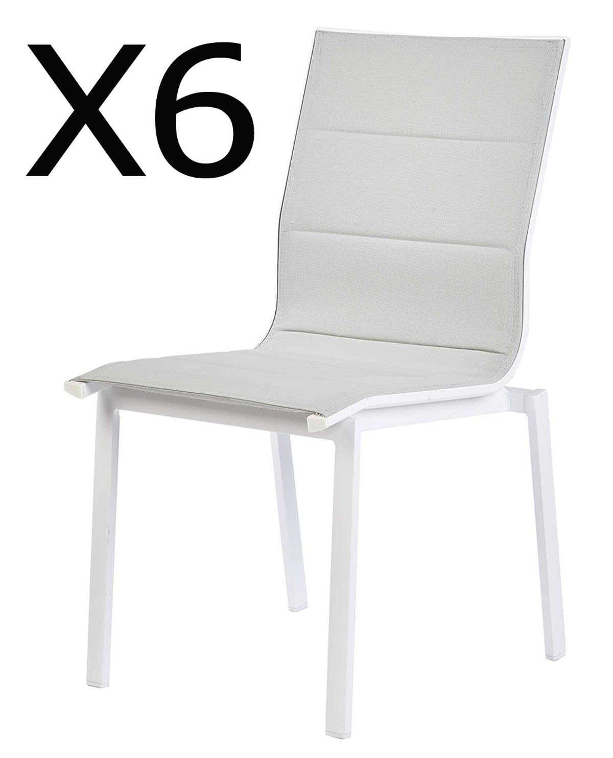 Lot De 6 Chaises De Jardin En Aluminium Coloris Blanc tout Lot De 6 Chaises But
