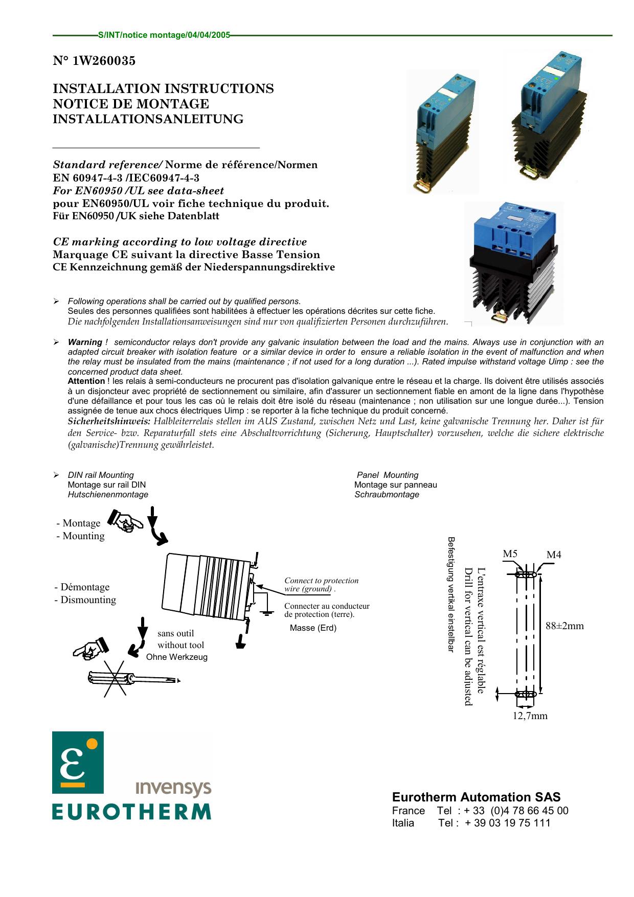 N° 1W260035 Installation Instructions Notice De Montage ... concernant Notice Montage