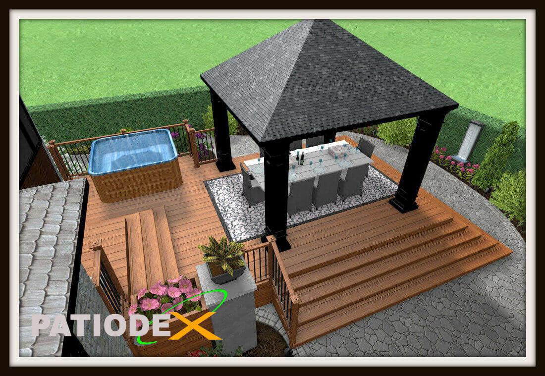 Patio En Bois Design Plan Modele Idee Piscine tout Modele De Terrasse