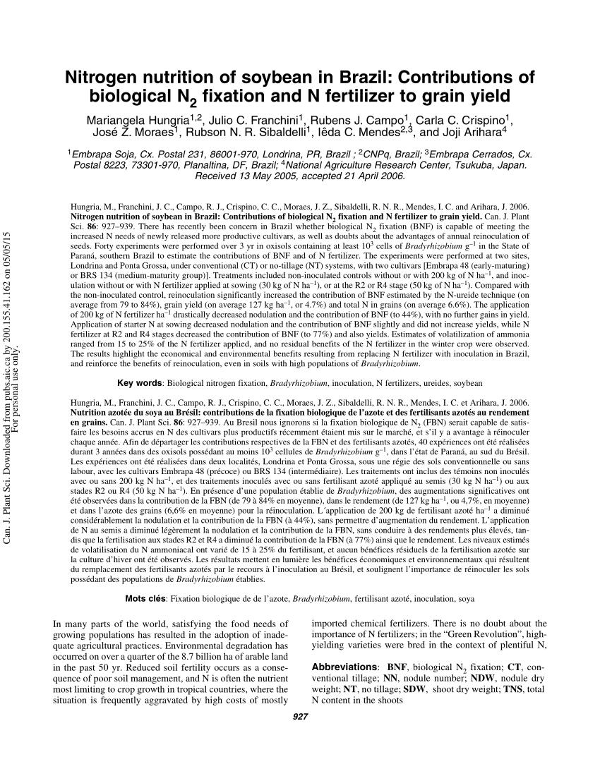 Pdf) Nitrogen Nutrition Of Soybean In Brazil: Contributions ... à Rubson Lr 2000