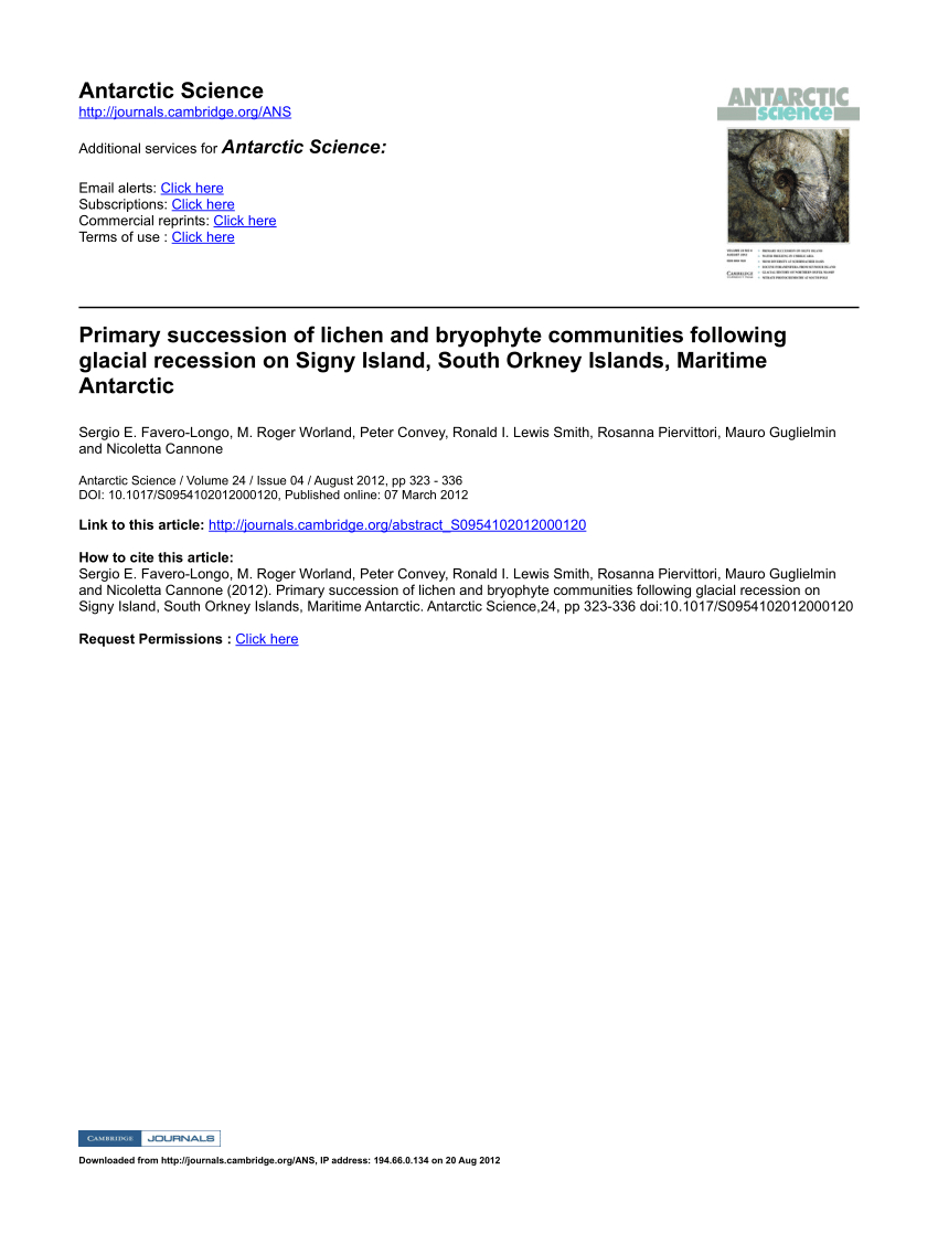Pdf) Primary Succession Of Lichen And Bryophyte Communities ... pour Dalle Bip Airial Gris