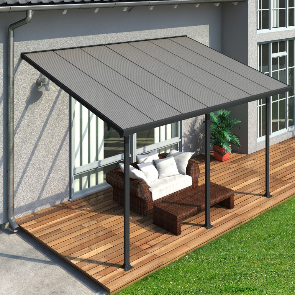 Pergola Toit Terrasse Aluminium Et Polycarbonate 4X3 M Gris à Pergola En Dur | Idees Conception ...