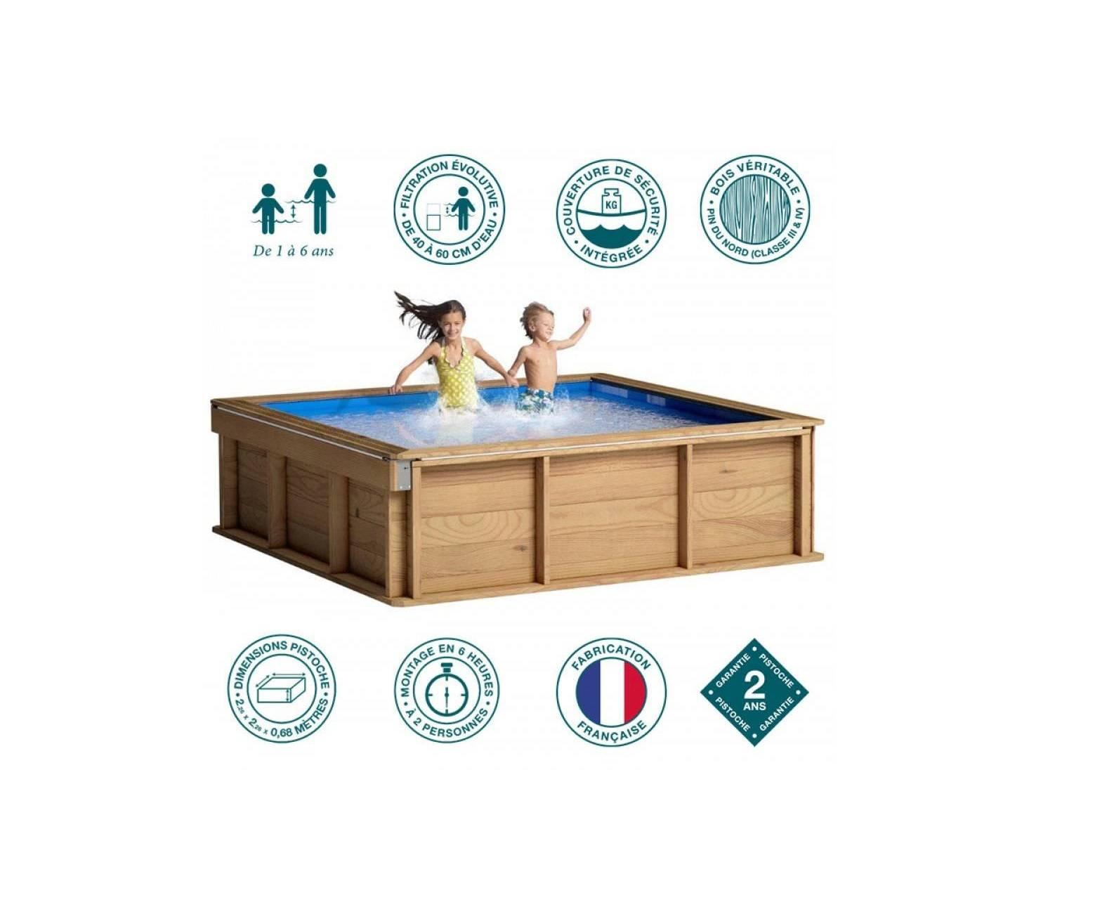 Petite Piscine Hors Sol Bois Carrée 2X2 Pour Enfants Piscine ... avec Piscine Bois Carrée 2X2