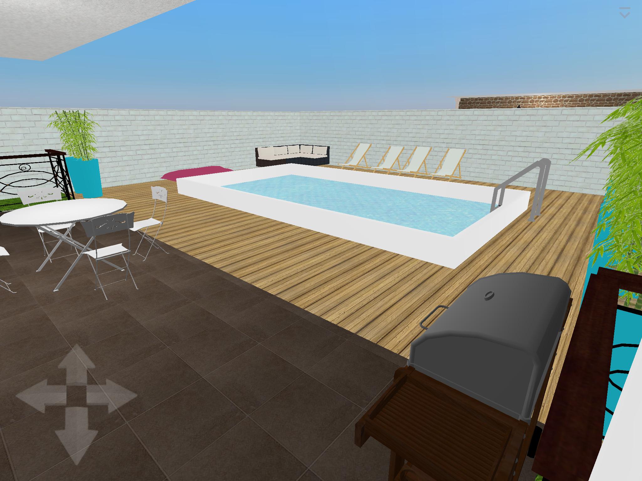Plan 3D : Piscine+ Terrasse Logiciel : Home Design 3D Gold ... avec Logiciel Maison Jardin Et Terrasse 3D Gratuit