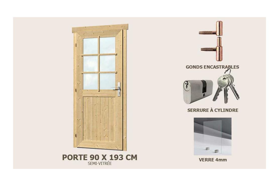 Porte De Service Supplémre Semi-Vitrée 90X193Cm Abri 28Mm concernant Porte Abri De Jardin 2 Vantaux