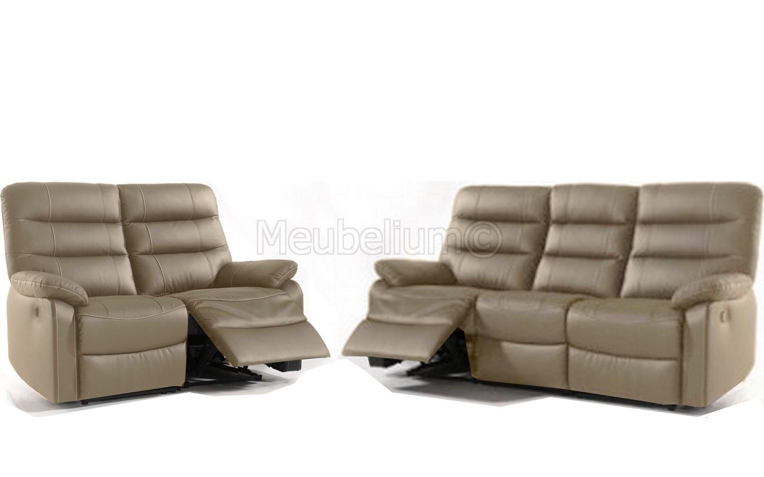 Salon Complet De Relaxation Manuel Cuir 3 + 2 Places , Coloris Taupe Silvano à Canapé Relax Électrique Ikea