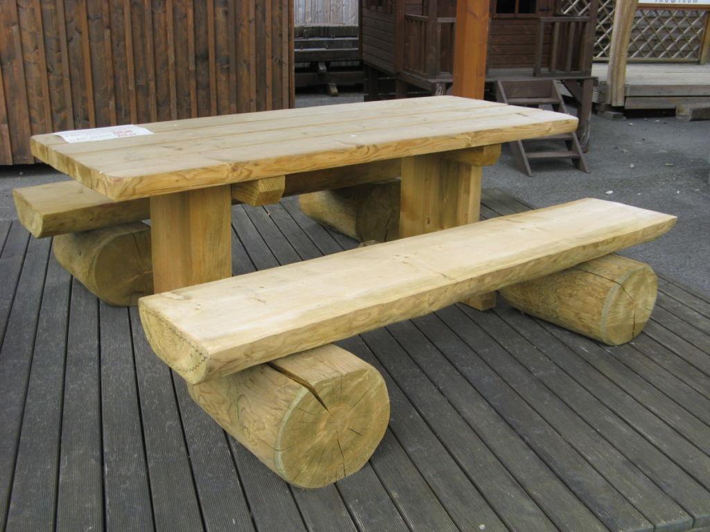 Salon De Jardin, Banc, Table Pique-Nique En Bois - Rustyle encequiconcerne Fabriquer Une Table De Jardin En Bois