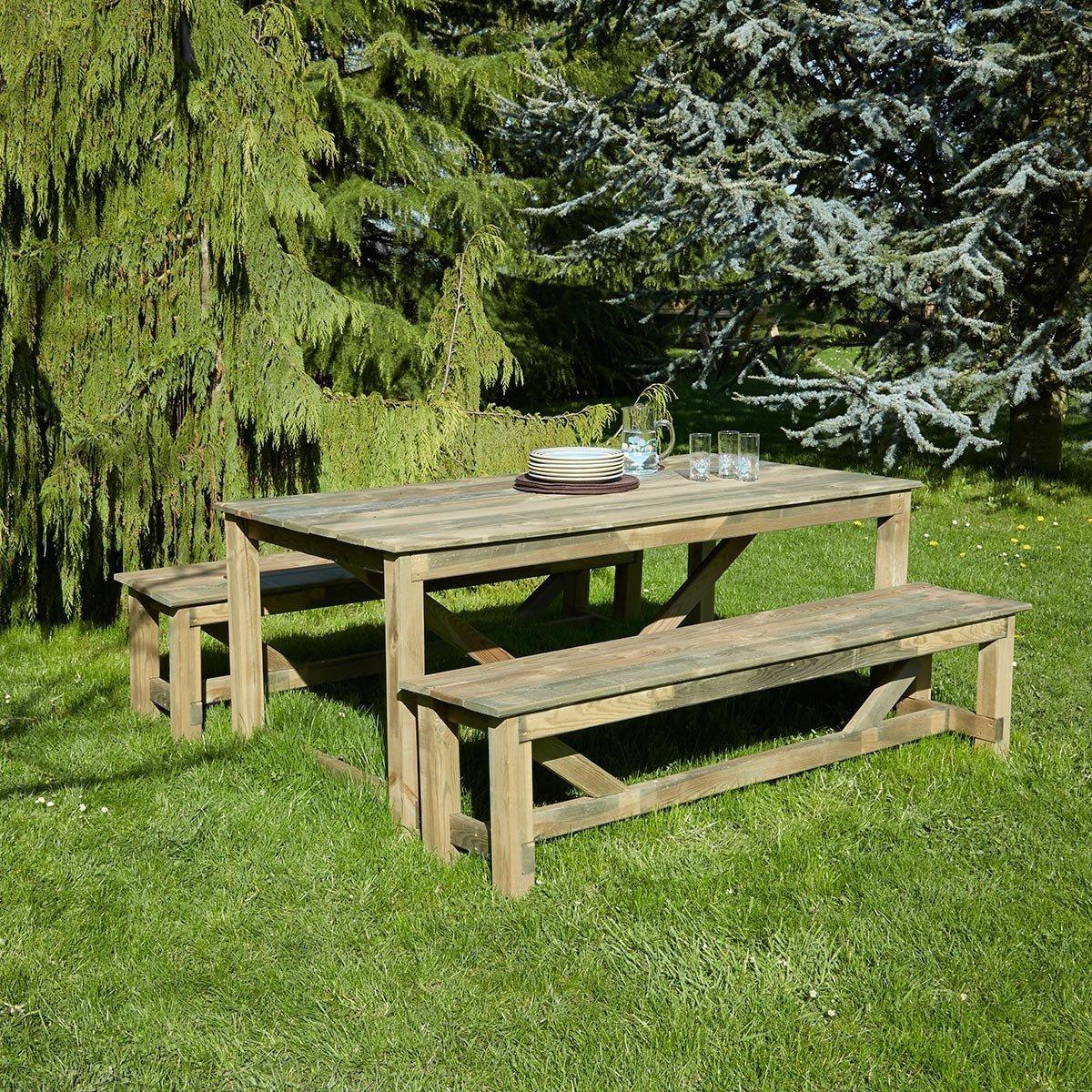Salon De Jardin En Bois Normand 6 Places - Achat/vente De ... destiné Salon De Jardin En Bois Pas Cher