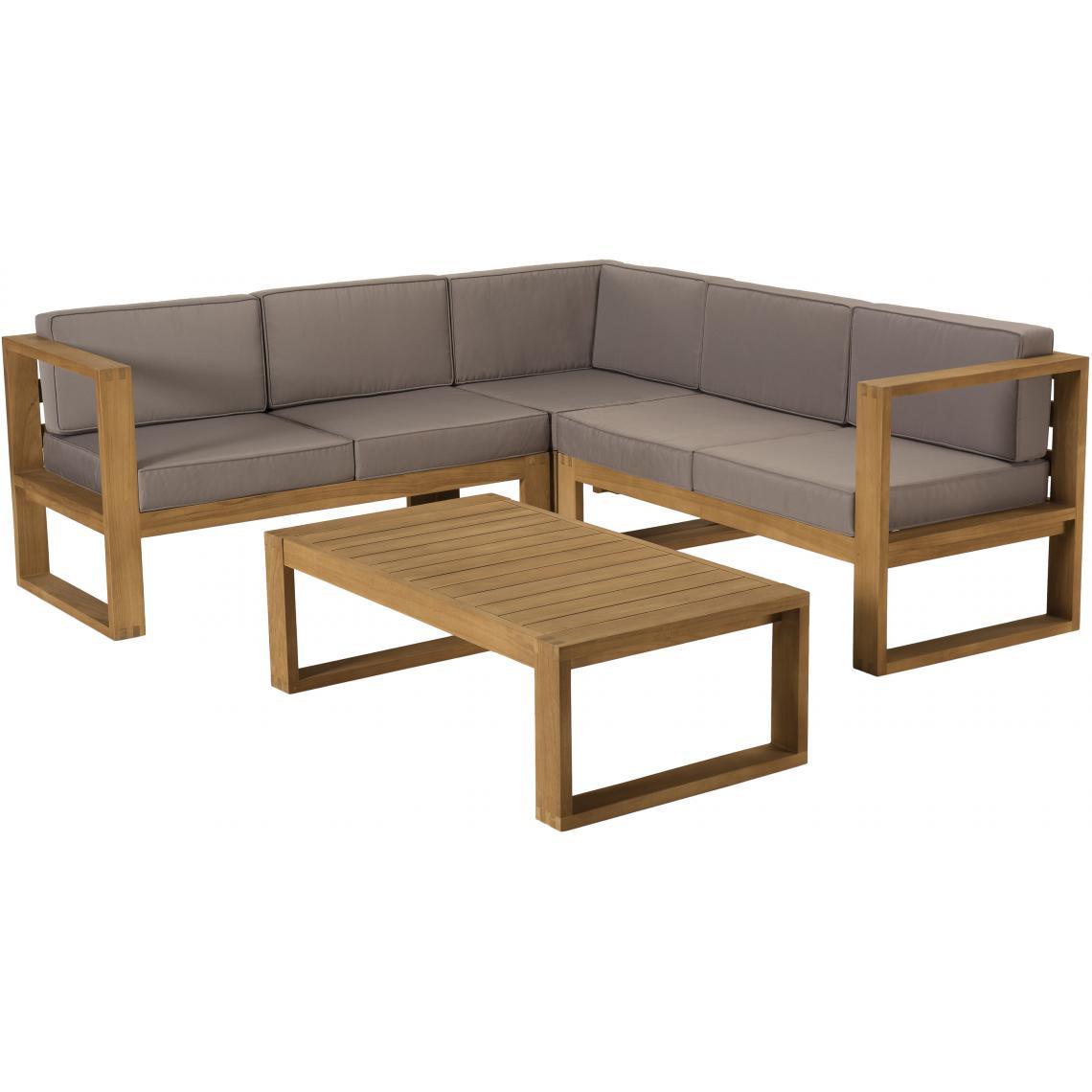 Salon De Jardin Minorque Table Basse Teck + Canapé D'angle 5 Places Plus  D's intérieur Salon De Jardin En Bois Pas Cher