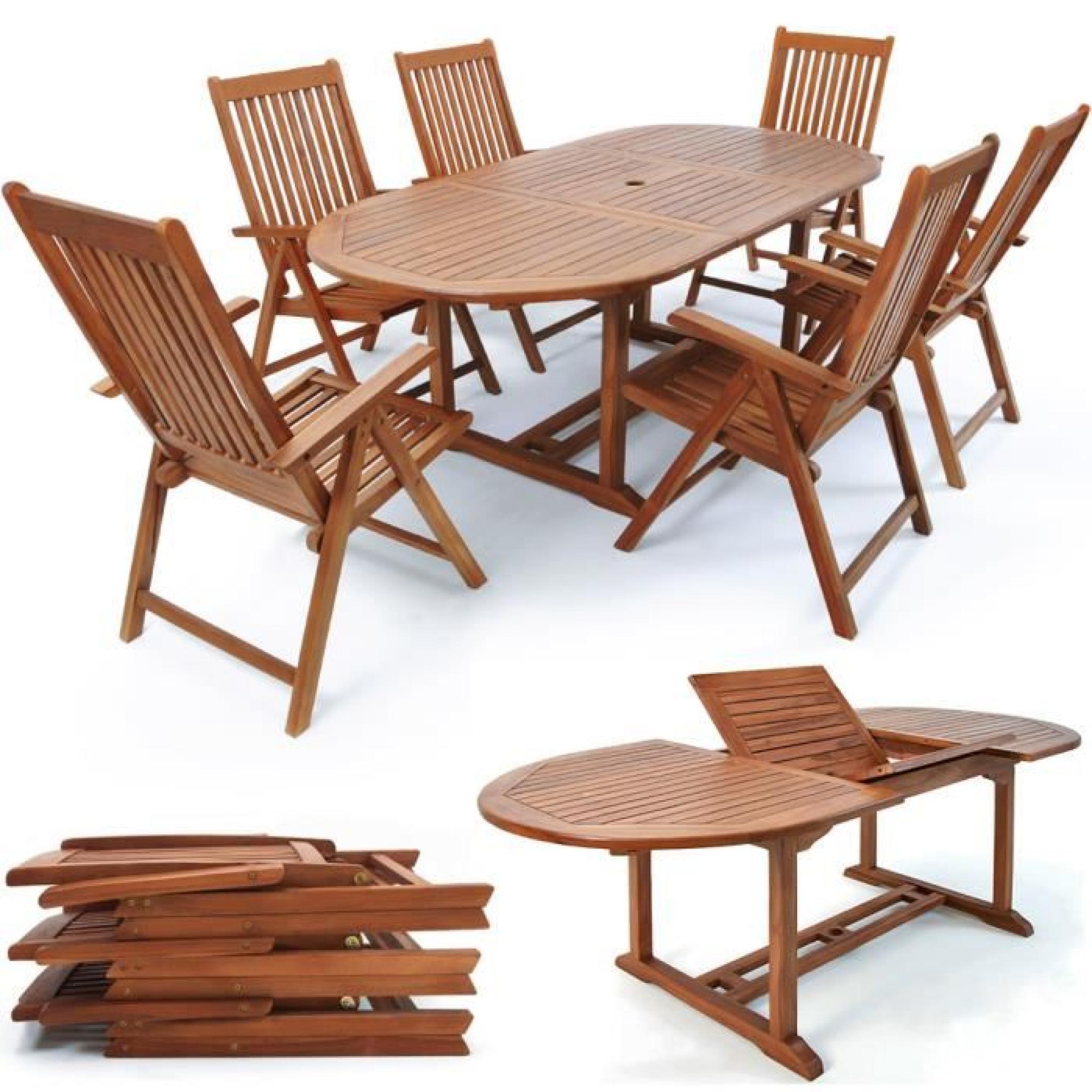 Salon De Jardin Vanamo - Ensemble 7 Pièces Table Et Chaises En Bois Dur destiné Salon De Jardin En Bois Pas Cher