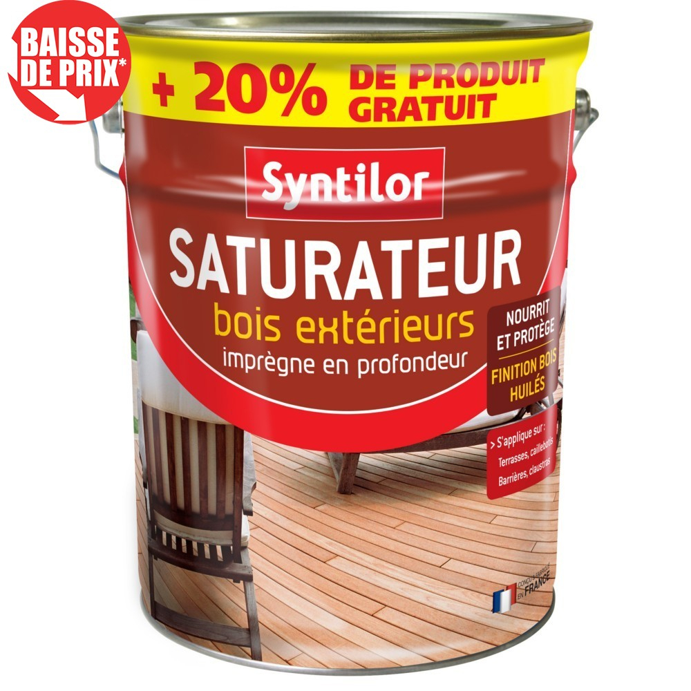Saturateur Bois Extérieurs Syntilor Incolore 5L+20% Gratuit destiné Saturateur Luxens Protection Terrasse Bois 5L Naturel