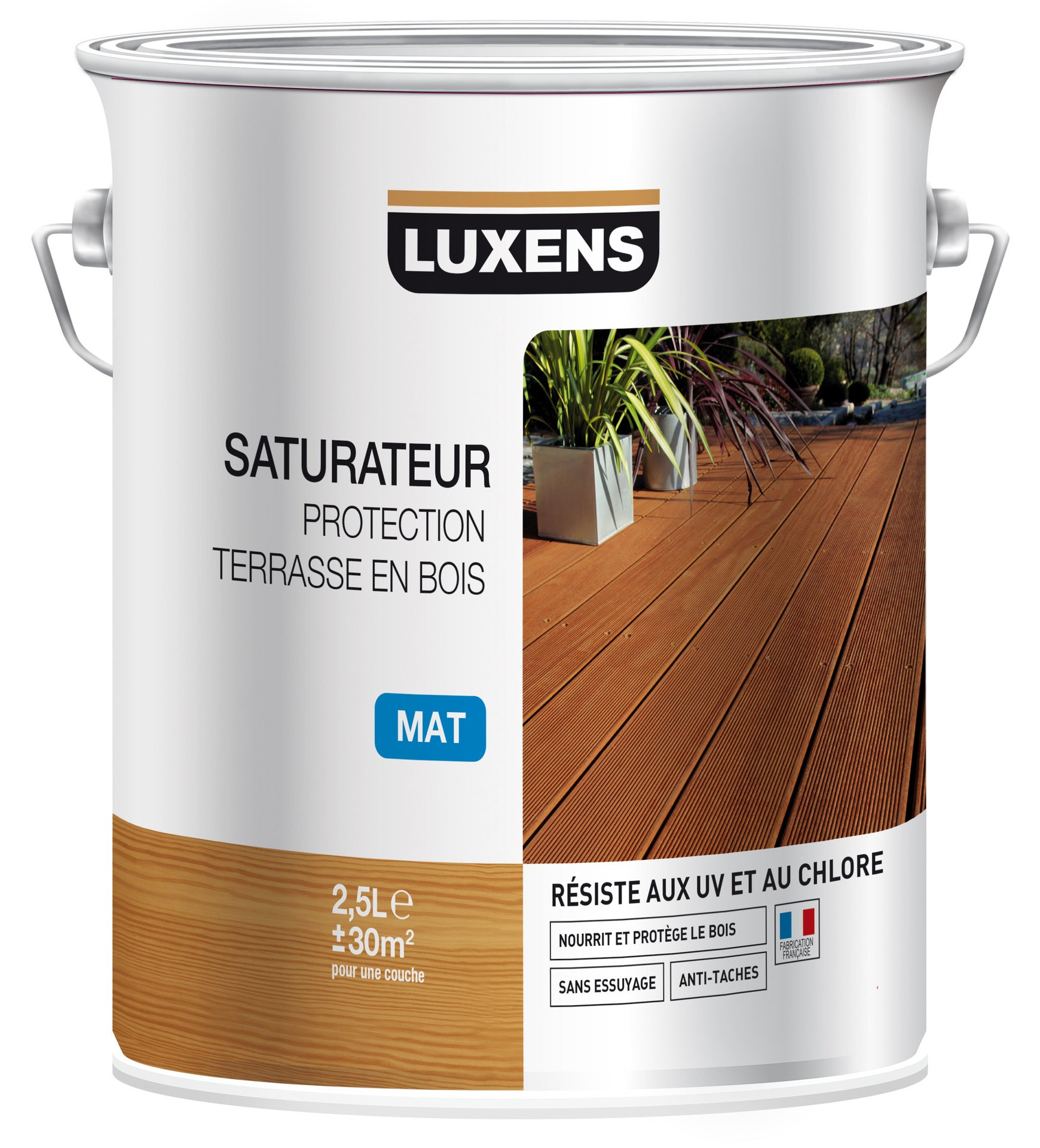 Saturateur Luxens Saturateur Protection Terrasse En Bois 2.5 L, Naturel intérieur Saturateur Luxens Protection Terrasse Bois 5L Naturel