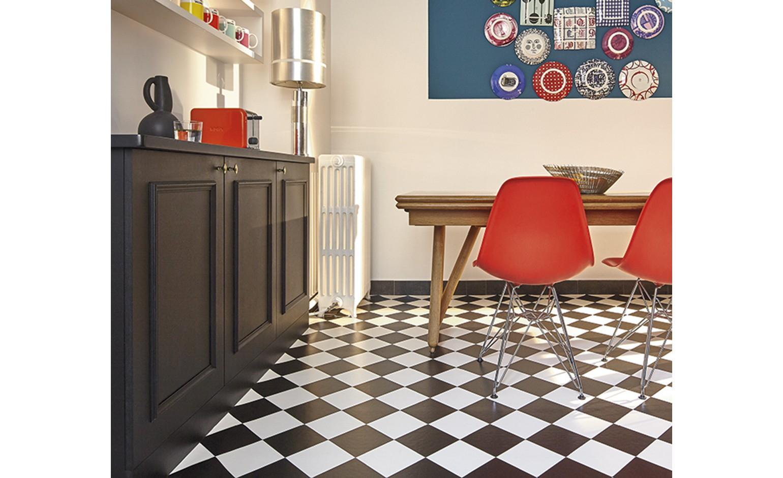 Sol Vinyle Bubblegum, Carrelage Damier Noir Et Blanc, Rouleau 4 M encequiconcerne Carrelage Damier Noir Et Blanc 30X30
