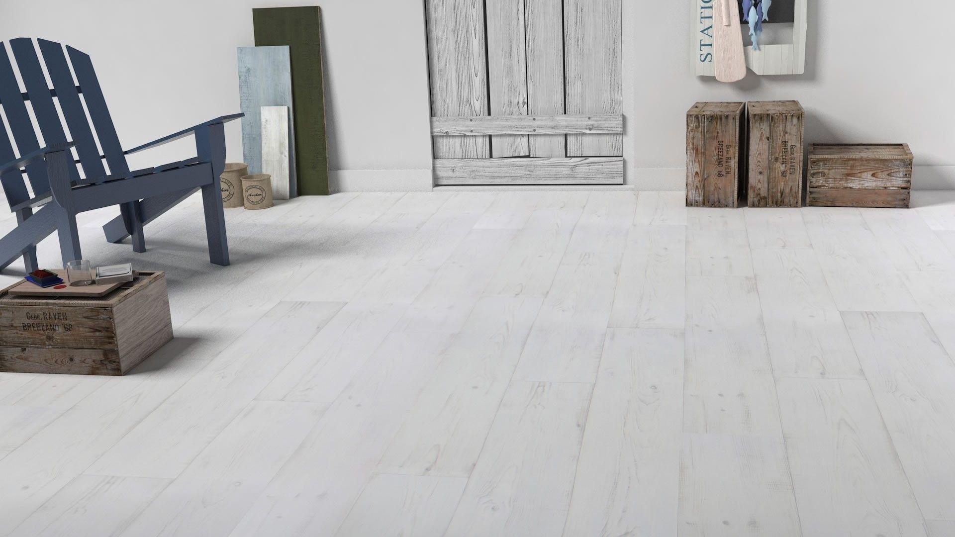 Sol Vinyle Imitation Bois Peint Blanc Texline 2M Keywest ... dedans Parquet Stratifié Blanc Vieilli