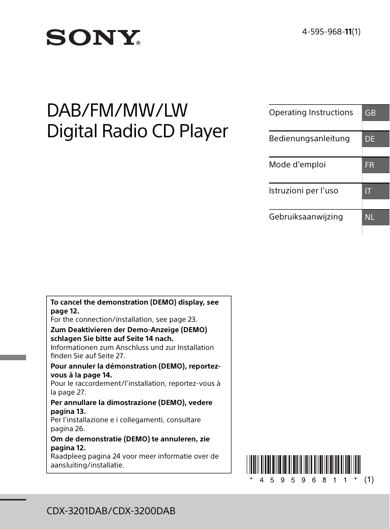 Sony Cdx-3201Dab User Manual | Manualzz serapportantà Dalle Bip Airial Gris