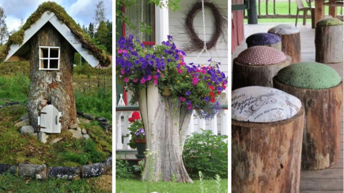 Souche D'arbre : 18 Façons De L'intégrer Dans Le Décor tout Décorer Un Arbre Mort