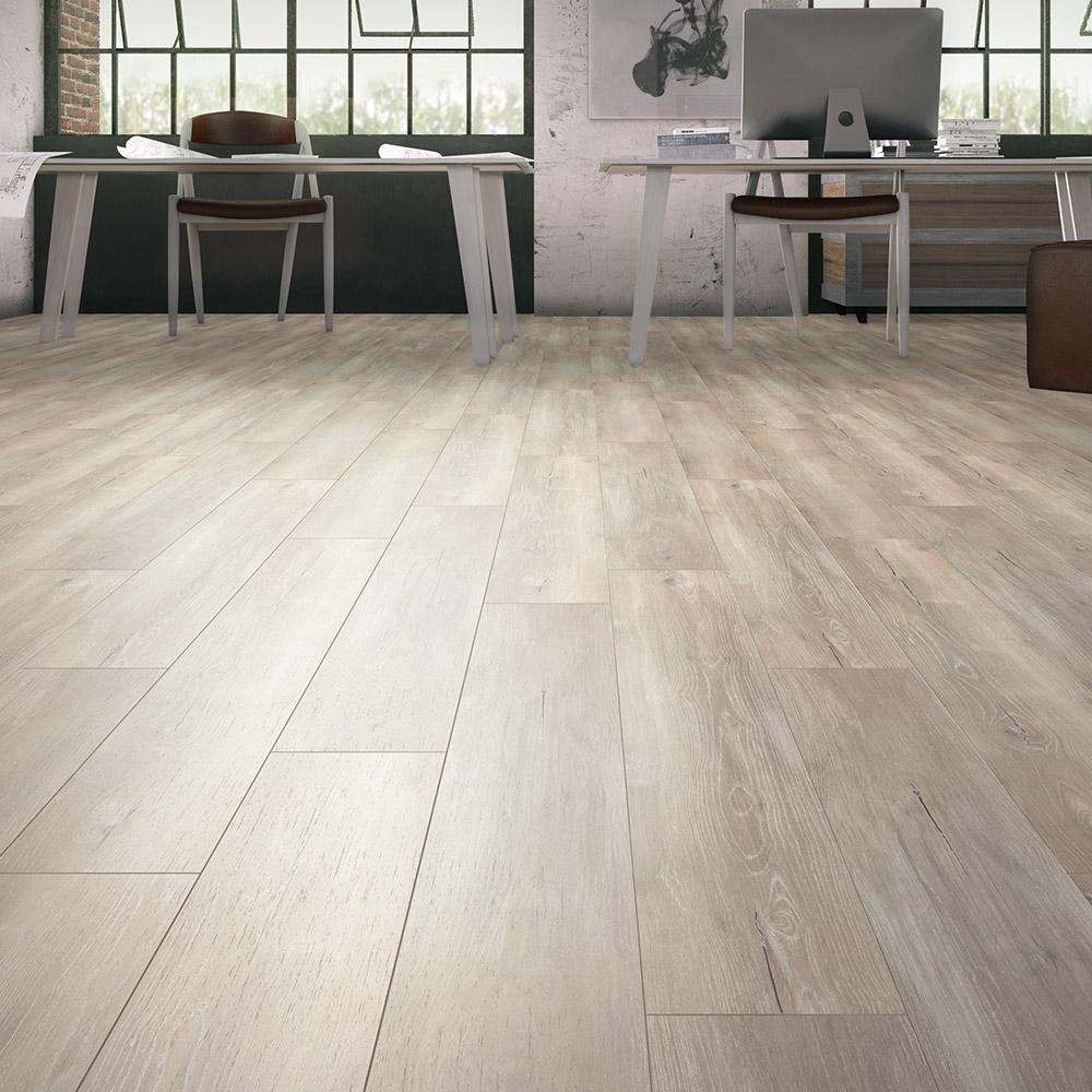 Stratifié Expert Floor 8 Mm 4V - Gris Ceruse Blanc ... avec Parquet Blanc Brillant