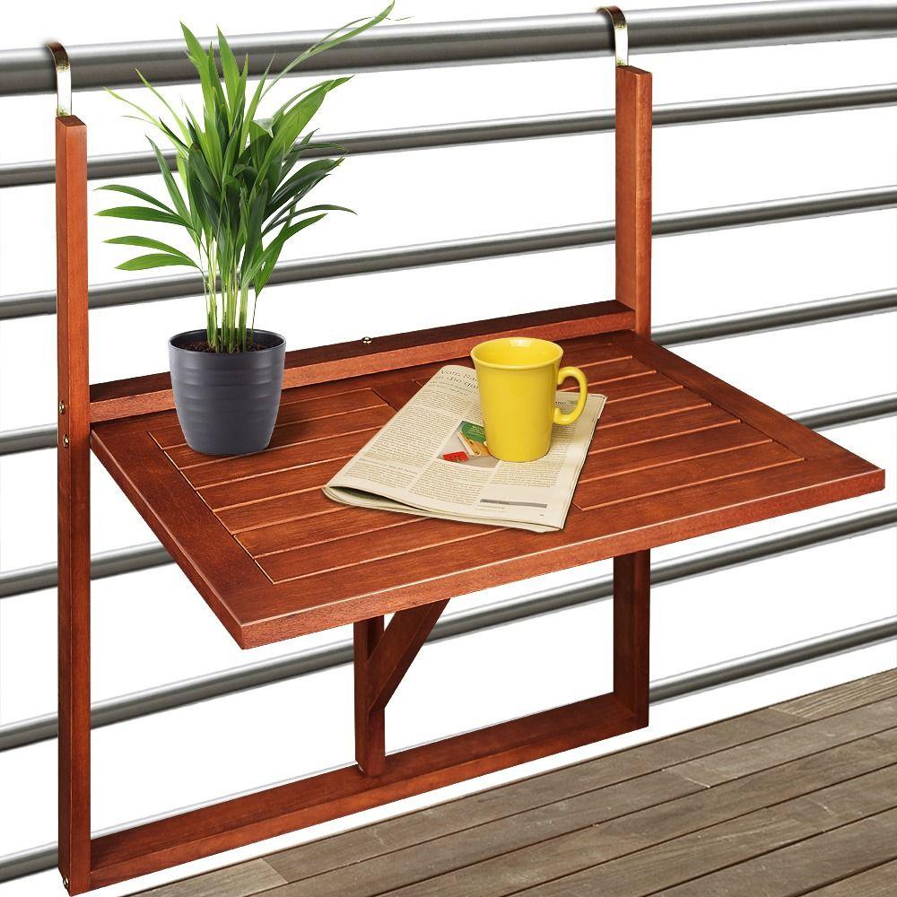 Table De Balcon Suspendue En Acacia En 2020 (Avec Images ... encequiconcerne Table Balcon Suspendue