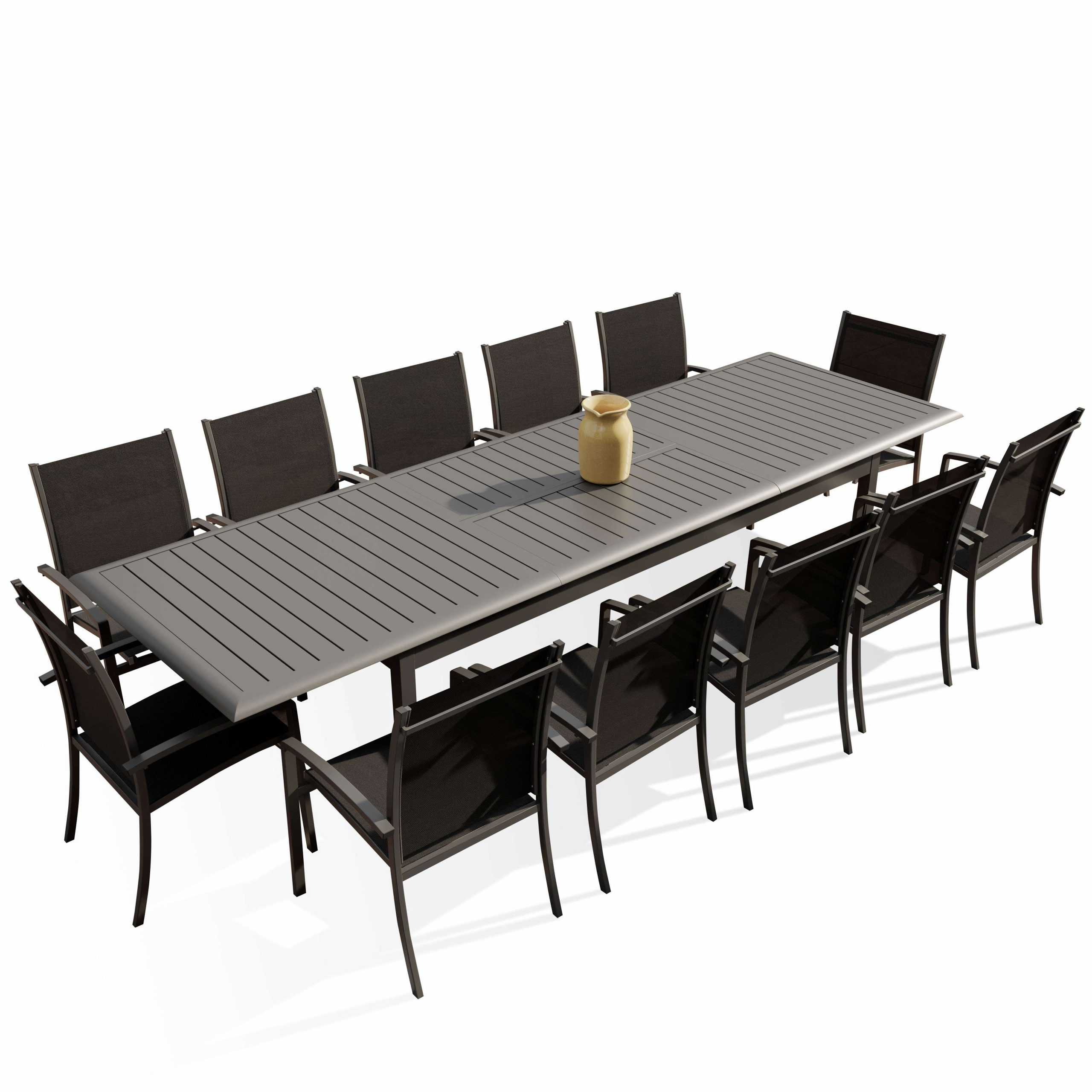 Table De Jardin Extensible Alu 220/320 Cm + 12 Fauteuils Empilables  Textilène Anthracite Andra Xl serapportantà Table De Jardin Extensible 320 Cm