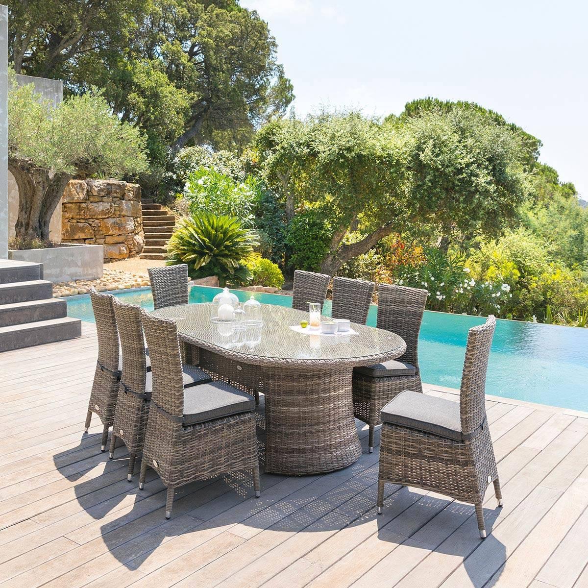 Table De Jardin Ovale Mooréa Terre D'ombre , Hesperide tout Salon De Jardin Moorea Terre D'ombre