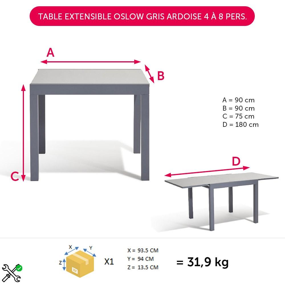 Table Extensible Oslow Gris Ardoise 4 À 8 Personnes serapportantà Ensemble Repas Oslow Gifi