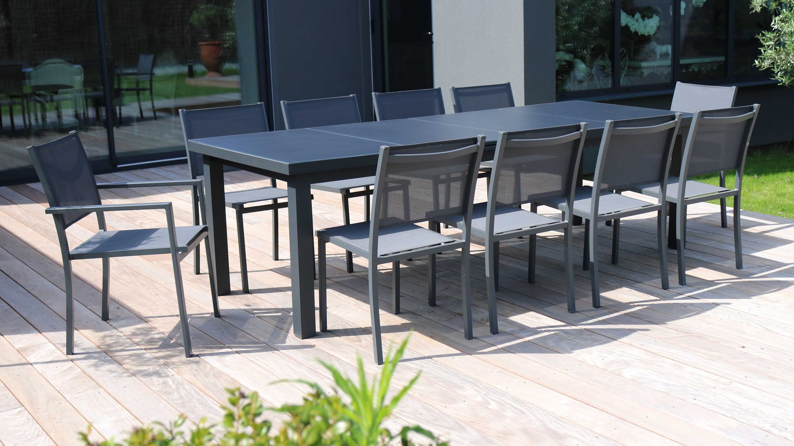 Table Jardin Extensible Rallonge 256/320 Cm 10 Places encequiconcerne Table De Jardin Extensible 320 Cm