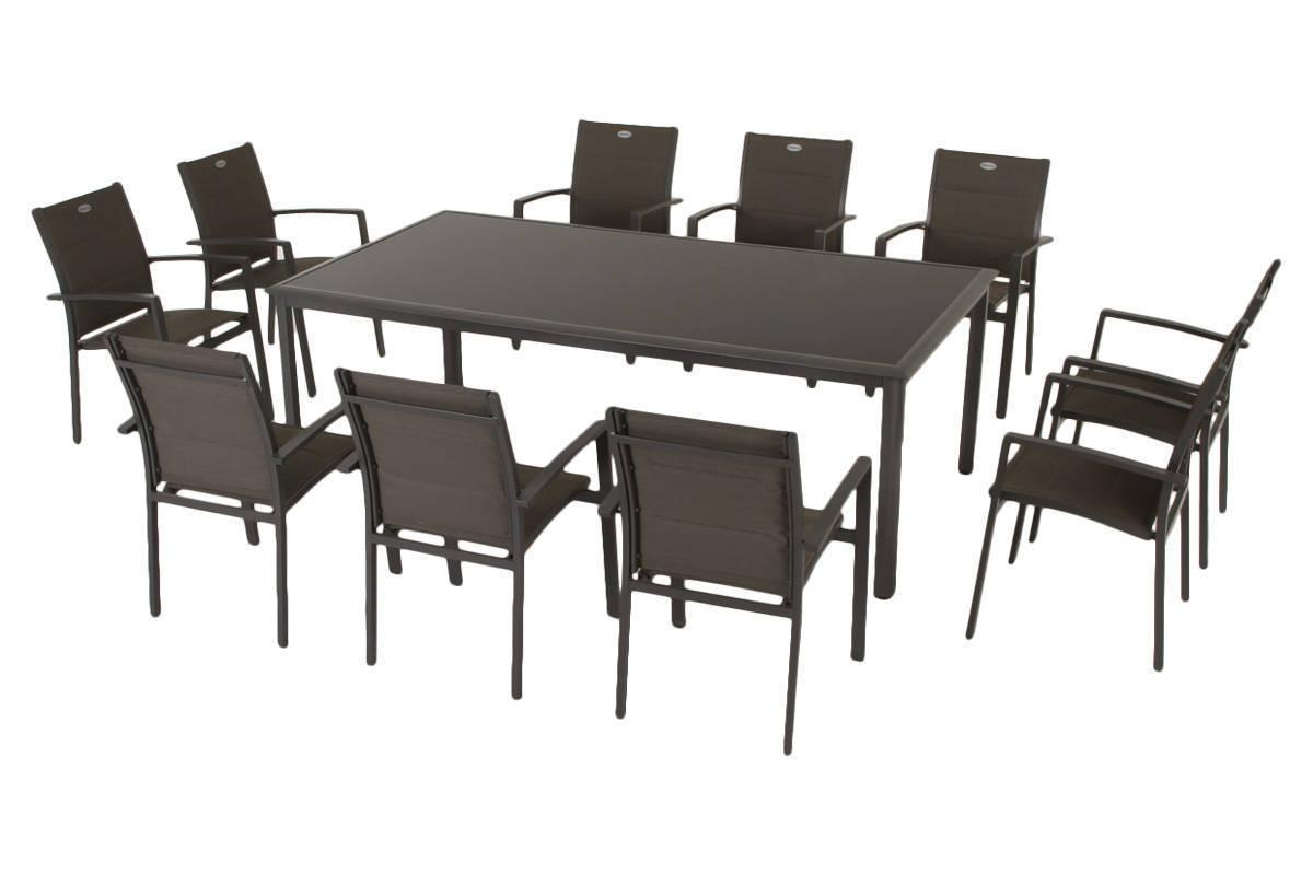 Table Rectangulaire Azua Verre Noire Mastic destiné Salon Azua Graphite