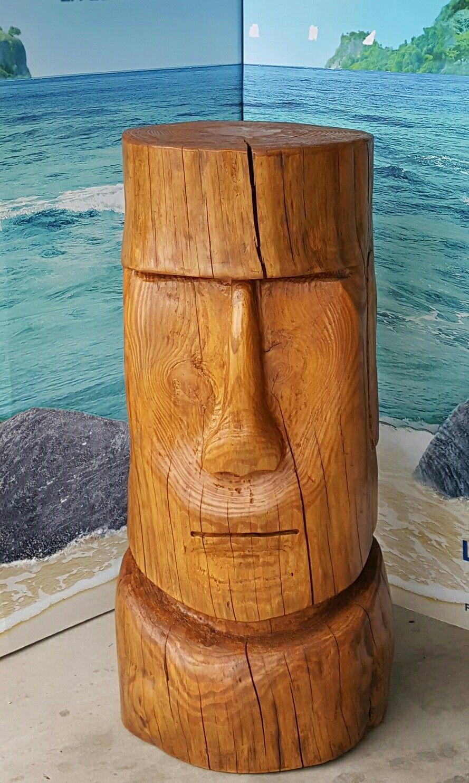 Tiki Moaï En Bois, Hauteur 1M, Diamètre 0,40 M Sculpture De ... serapportantà Statue Moaï 1M