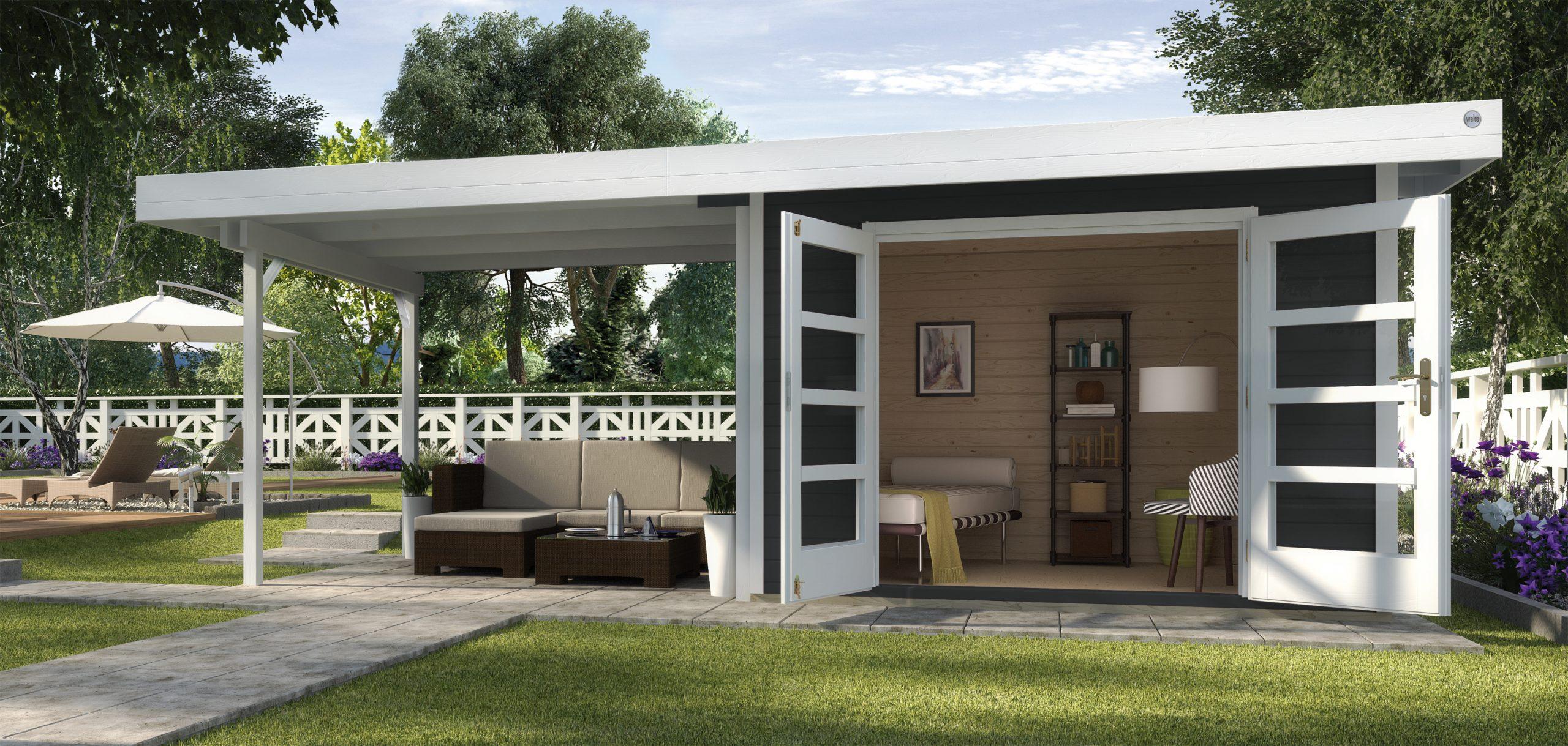 Abri De Jardin Design Toit Plat Avec Auvent - Abri Bois De 10 À 15 M² Nea  Concept concernant Abri De Jardin Avec Auvent