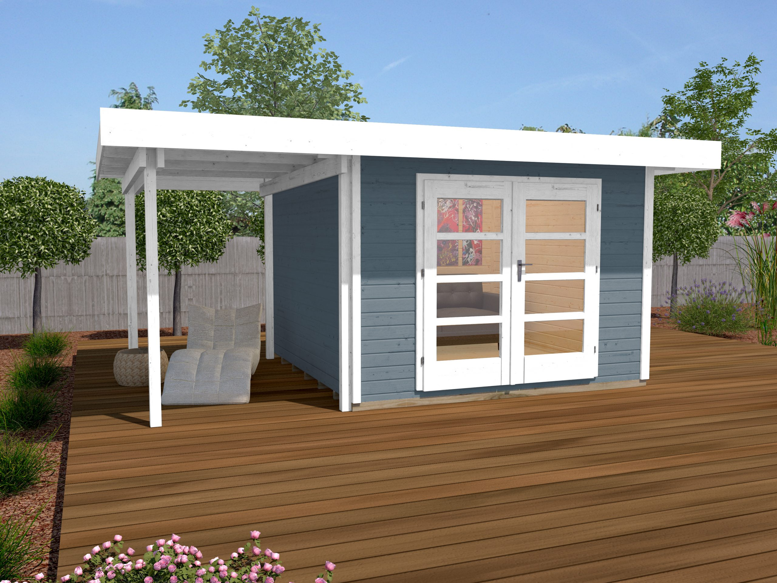 Abri De Jardin Design Toit Plat Avec Auvent Coté - Abri Bois De 10 À 15 M²  Nea Concept intérieur Abri De Jardin Avec Auvent