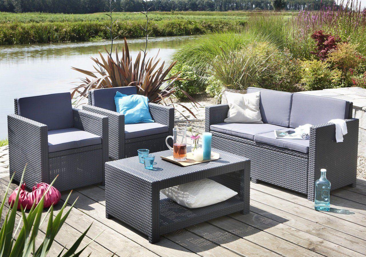 Amazon.de: Koll Living Lounge Set Korsika In Anthrazit, Inkl ... dedans Salon De Jardin Pas Cher Amazon