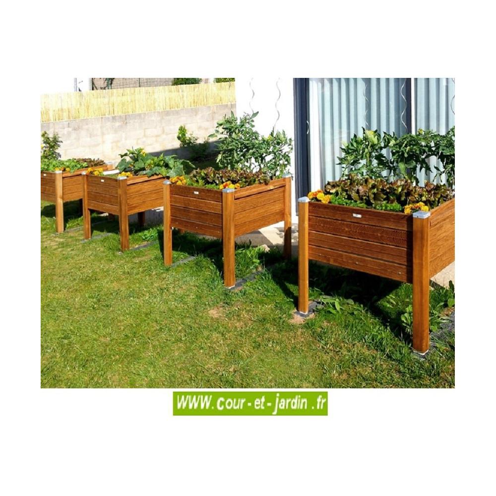 Bac À Fleurs En Bois Sur Pieds . Bac À Plantes De 90Cm X 50 ... tout Bac À Jardiner