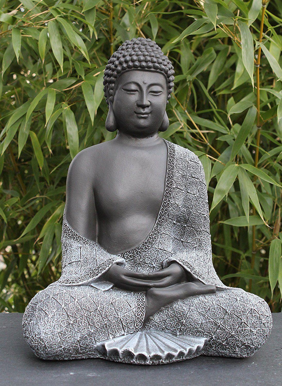 Bouddha Statue En Pierre, Gris Ardoise, Décoration Figurine ... avec Statue Bouddha Exterieur Pour Jardin