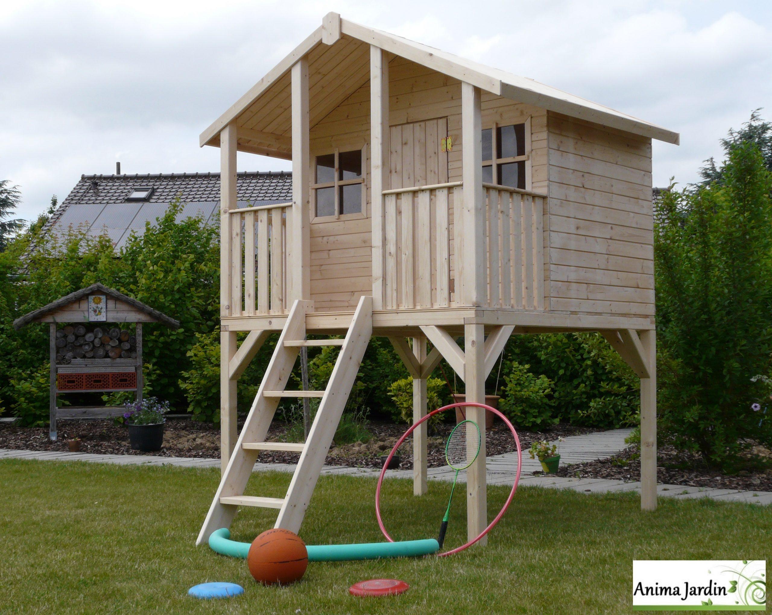 Cabane En Bois Surélevée Sur Pilotis, 3M², Toit Deux Pentes ... encequiconcerne Maison De Jardin Enfant Pas Cher