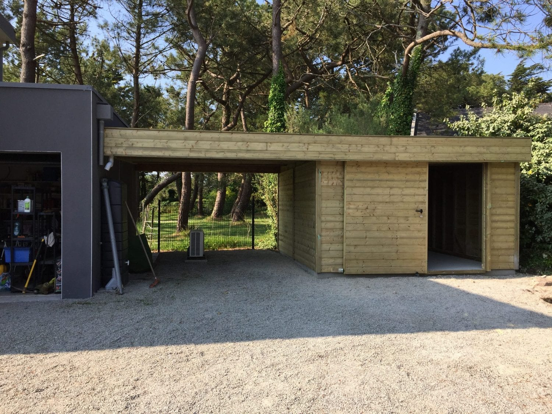 Carport – Abri De Voiture Mitoyen Avec Abri Jardin - Les ... destiné Carport Avec Abri De Jardin