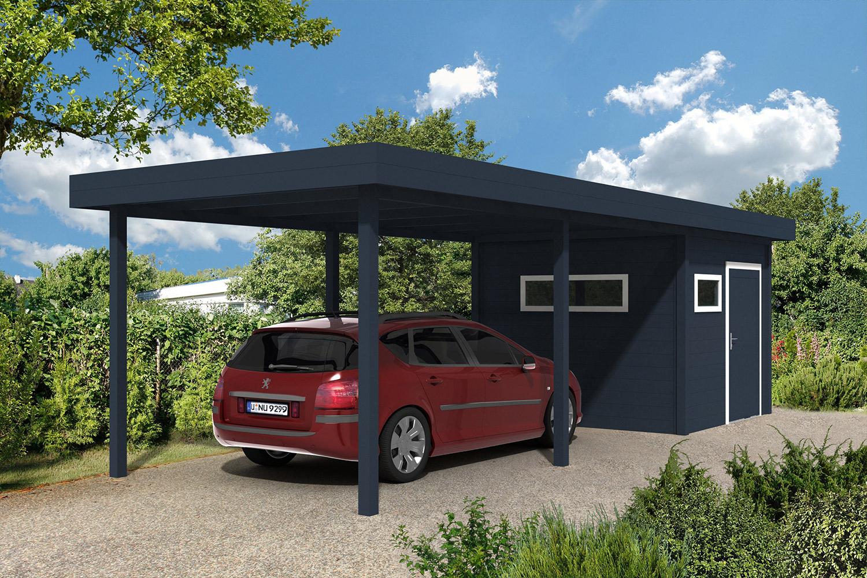 Carport Avec Abris De Jardin Intégré En Aluminium A2 - La ... intérieur Carport Avec Abri De Jardin