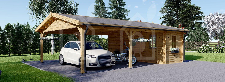 Carport En Bois Double Avec Abri, 6X7.5 M, 45 M² intérieur Carport Avec Abri De Jardin