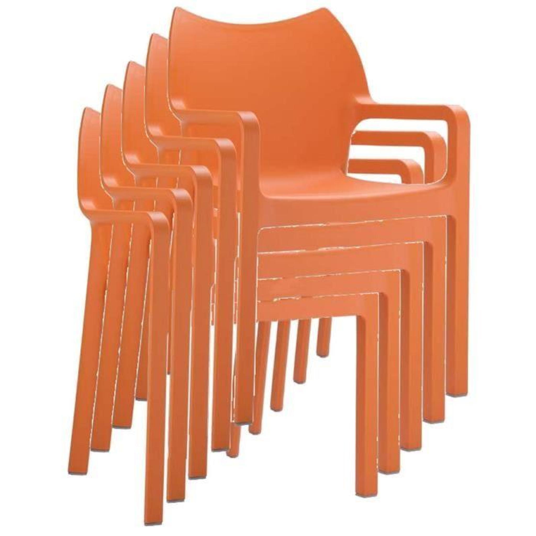 Chaise De Jardin Empilable En Plastique, Orange tout Chaise De Jardin Pas Cher En Plastique