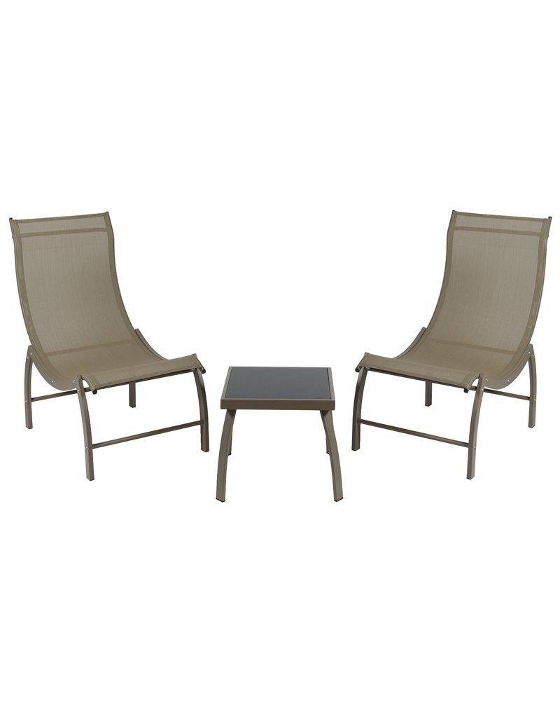 Ensemble De Jardin Composé De 2 Chaises Longues Et D'une Table Basse Marron encequiconcerne Chaise Basse De Jardin