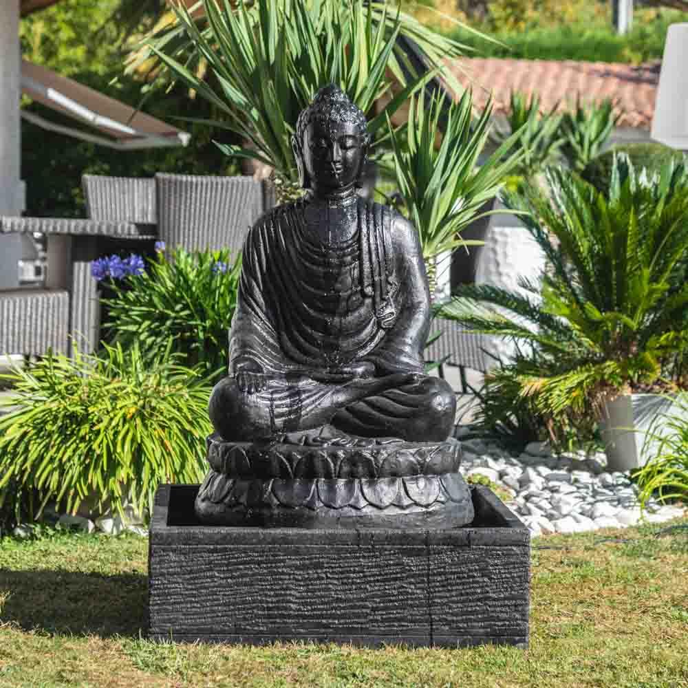 Fontaine De Jardin Bouddha Assis 1 M 20 Patiné Noir dedans Fontaine De Jardin Bouddha