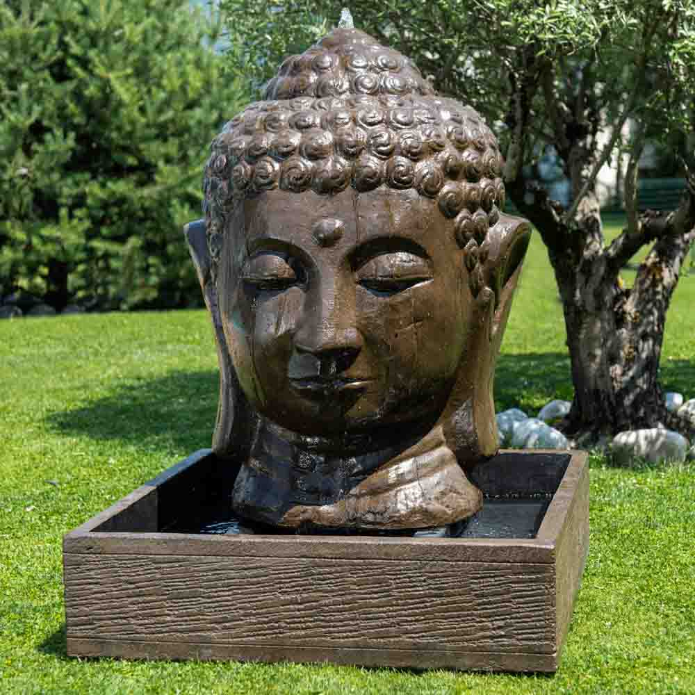 Fontaine De Jardin Tête De Bouddha 1 M 30 Brun à Fontaine De Jardin Bouddha