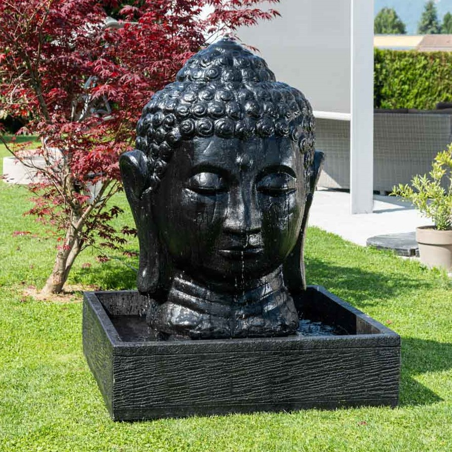 Fontaine De Jardin Tête De Bouddha 1 M 30 Noir concernant Fontaine De Jardin Bouddha