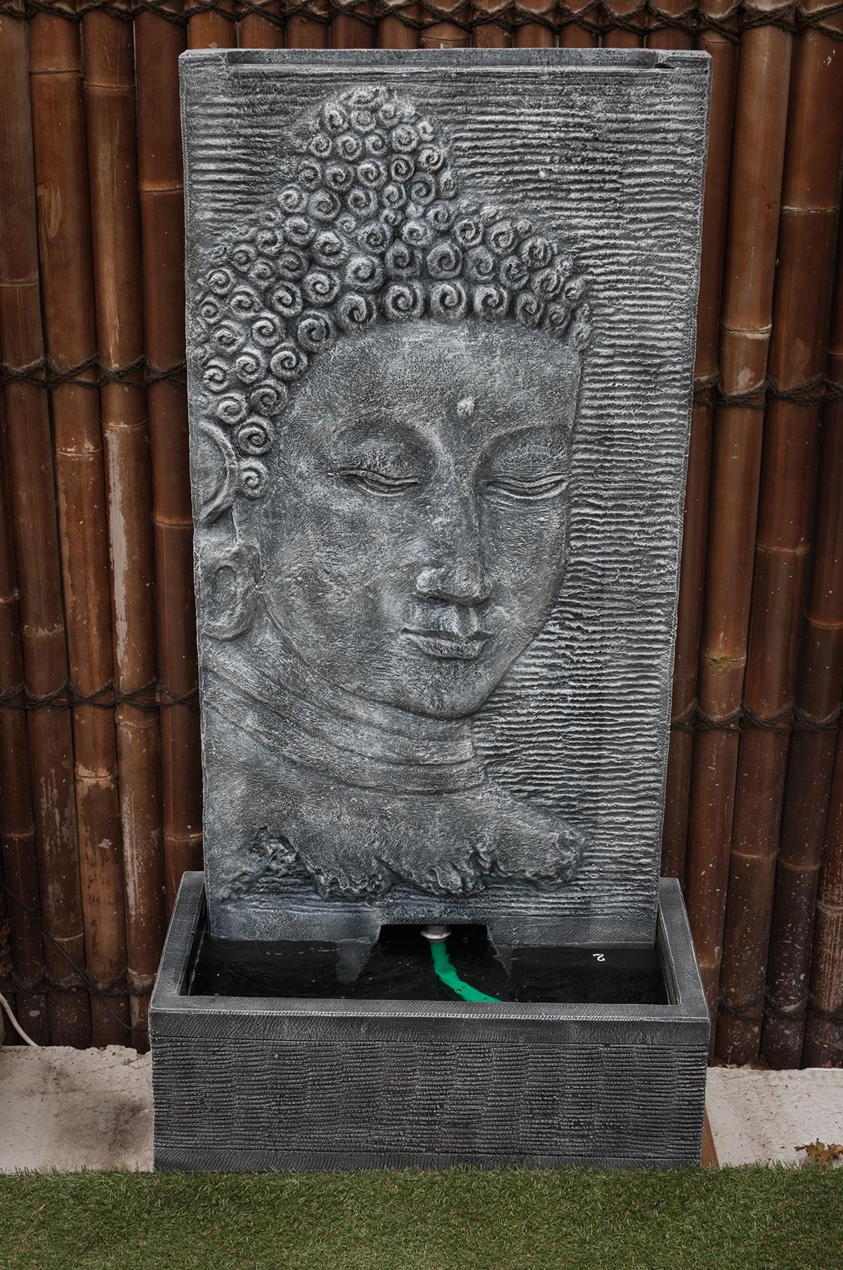 Fontaine Mur D'eau Visage De Bouddha 140 Cm Gris tout Fontaine De Jardin Bouddha