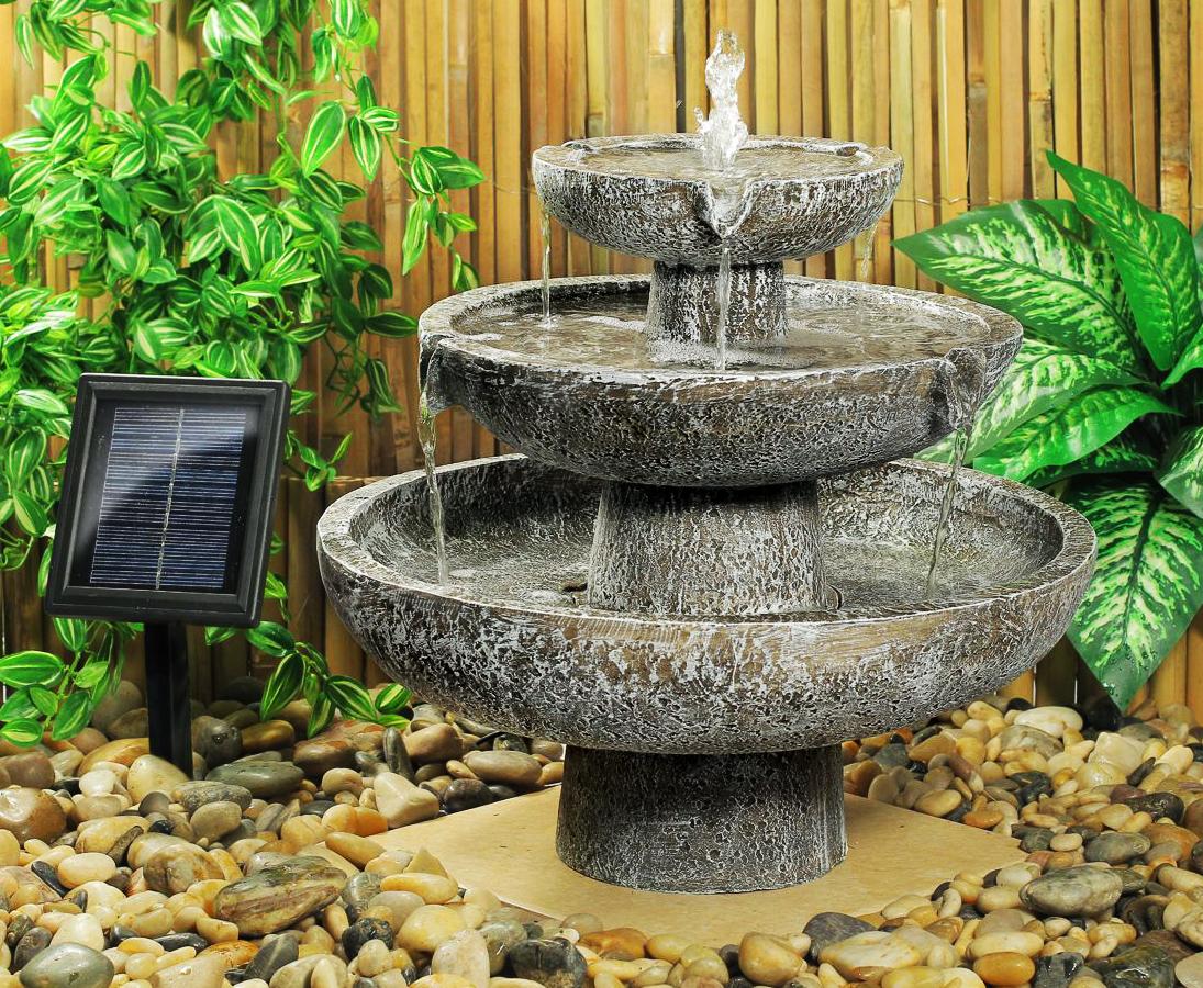 Fontaine Solaire Cascade 3 Niveaux Grise -Fontaines Photovoltaïques |  Objetsolaire intérieur Fontaine Solaire Exterieur Jardin